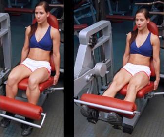 extensión polea para piernas con máquina